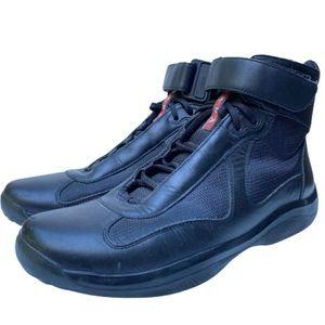 Prada Americas Cup Hi Top Leather Sneakers